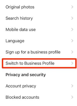 تحويل حساب انستاغرام إلى بزنس